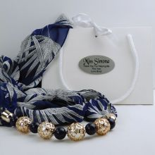 Navy Chiffon Scarf with Necklace in Personalised Box - Teacher