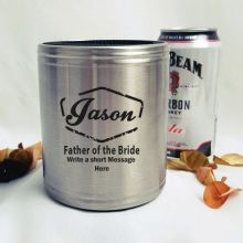 Father Of The Bride Engraved Silver Can Cooler Personalised Message