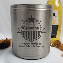 Grandpa Engraved Silver Stubby Can Cooler Personalised Message