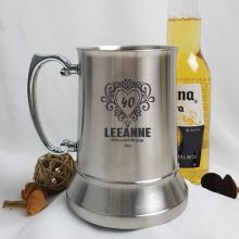 40th Birthday Engraved Personalised Stainless Beer Stein Glass (F)