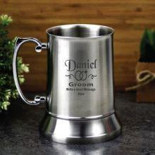 Groom Engraved Personalised Stainless Beer Stein Glass