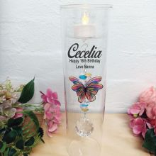16th Birthday Glass Candle Holder Rainbow Butterfly