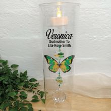 Godmother Glass Candle Holder Green Butterfly