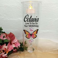 16th Birthday Glass Candle Holder Pink Butterfly