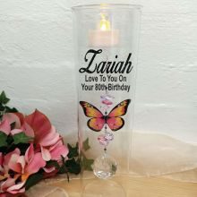 80th Birthday Glass Candle Holder Pink Butterfly