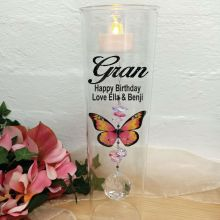Grandma Glass Candle Holder Pink Butterfly