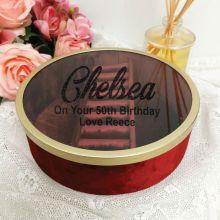50th Birthday Jewellery Box Red Velvet Round