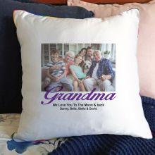 Grandma Photo Cushion Cover Rainbow Trim