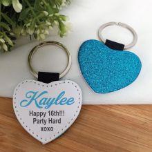 16th Birthday Blue Glittered Leather Heart Keyring
