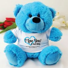Love Your Naughty Bits Valentines Bear - Blue