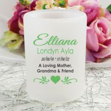 Personalised Memorial Tea Light Candle Holder - Heart Tilda