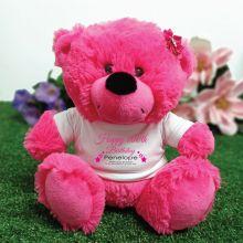 Personalised 100th Birthday Bear Hot Pink Plush
