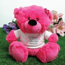 Flower Girl Teddy Bear Plush Hot Pink