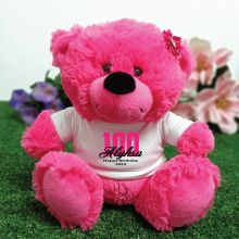 100th Birthday Personalised Teddy Bear Hot Pink Plush