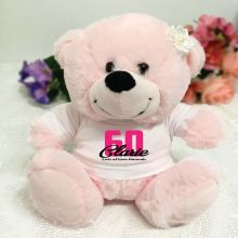 60th Birthday Personalised Teddy Bear Light Pink Plush