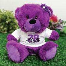 Personalised Birthday Teddy Bear Plush Purple