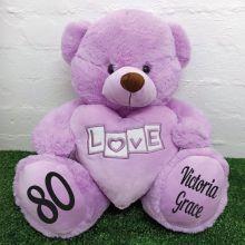 80th Birthday Love Bear With Heart 40cm Lavender