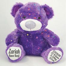 Baby Birth Details Teddy Bear 40cm Hollywood - Purple