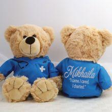 Personalised Teddy Bear Nurse Scrubs BLue