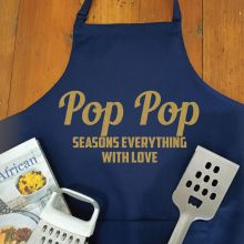 Pop Personalised  Apron with Pocket - Navy