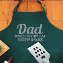 Dad Personalised  Apron with Pocket - Pea Green