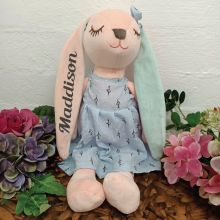 Hallie Bunny Keepsake Plush Blue Dress