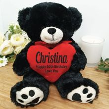 Personalised 50th Bear Black Plush with Heart