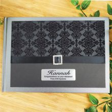 Personalised Retirement Guest Book- Baroque Black