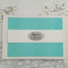 Personalised 13th Birthday Guest Book- Aqua  Glitter