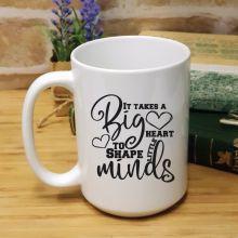 Personalised Teacher White Coffee Mug -Big Heart
