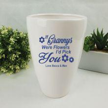 Grandma White Ceramic Vase with Quote