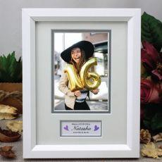 16th Birthday Photo Frame White / Silver Wood 4x6 Photo