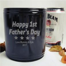 First Fathers Day Engraved Black Stubby Can Cooler