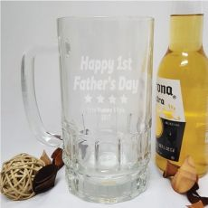 First Fathers Day Engraved Personalised Glass Beer Stein
