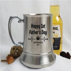 First Fathers Day Engraved Personalised Stainless Beer Stein Glass