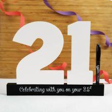 21st  Birthday Signature Number Block