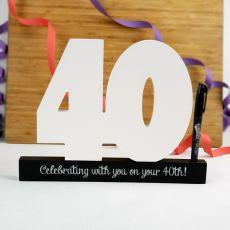 40th Birthday Signature Number Block
