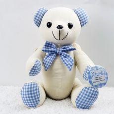Personalised Baby Shower Signature Bear - Blue Gingham