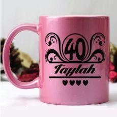 40th Birthday Pink Personalised Coffee Mug - Swirl