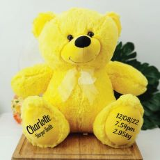 Baby Birth Details Teddy Bear 40cm Plush Yellow