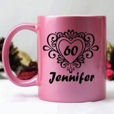 60th Birthday Pink Personalised Coffee Mug - Swirl