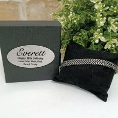 18th Stainless Steel Chain Bracelet In Personalised Box