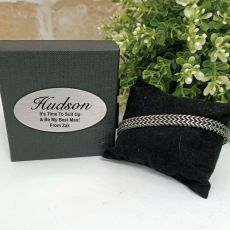 Bestman Stainless Steel Chain Bracelet In Personalised Box