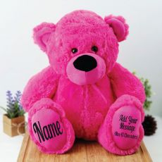 Personalised Teddy Message Bear 40cm Plush Hot Pink