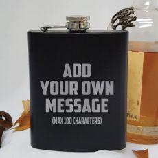 Custom Engraved Black Flask 7oz - Your Design