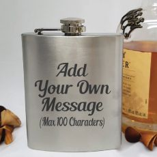 Custom Engraved Silver Flask 7oz - Your Design