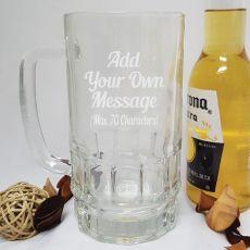 Custom Engraved Glass Beer Stein - Your Design