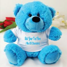 Custom Text T-Shirt Bear - Bright Blue