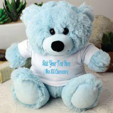 Custom Text T-Shirt Bear - Light Blue