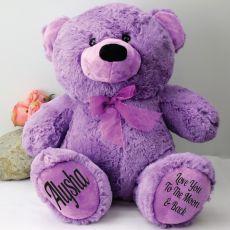 Personalised Teddy Bear 40cm Plush Lavender